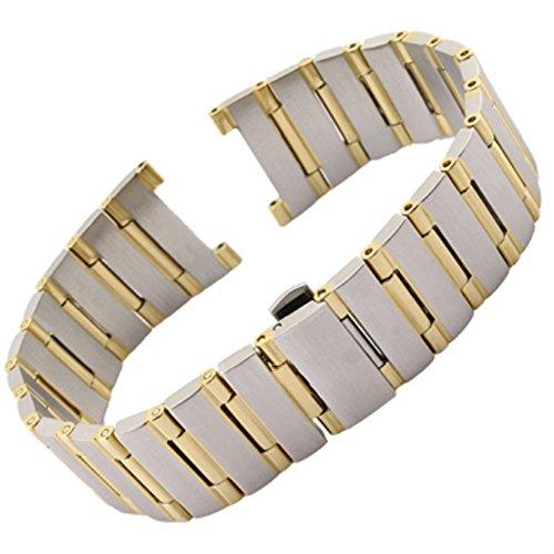 - 17mm/22mm Stainless Steel Bracelet Strap Band Fits for Omega Constellation De Ville (22mm x 14mm, Silver&Gold)
