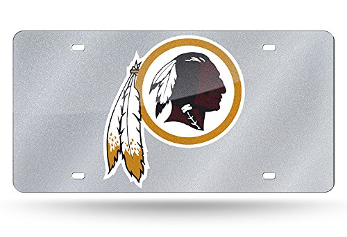 NFL Washington Redskins Bling Laser Cut Auto Tag Plate, 12 x 6-Inch, Silver ()