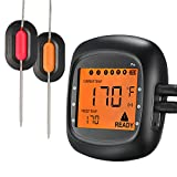 : Habor Wireless Thermometer, Bluetooth Meat Thermometer Remote Digital Cooking Food Thermometer with 6 Probe Port Alarm Monitor for Kitchen BBQ Grill Smoker for IOS & Android(Dual Probes)