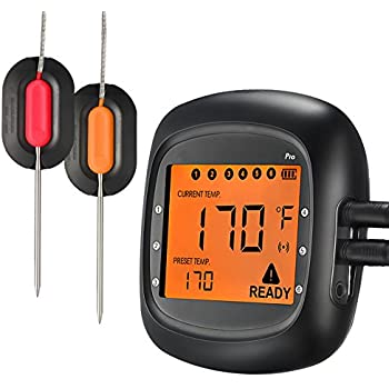 Habor Wireless Thermometer, Bluetooth Meat Thermometer Remote Digital Cooking Food Thermometer with 6 Probe Port Alarm Monitor for Kitchen BBQ Grill Smoker for IOS & Android(Dual Probes)
