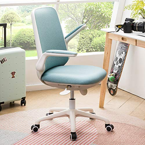 OVIOS Office Chair,Water Resistant Fabric Desk Chair for Dresser and Home Office,Modern,Comfortble,Nice Task Chair for Computer Desk. (White-Blue)