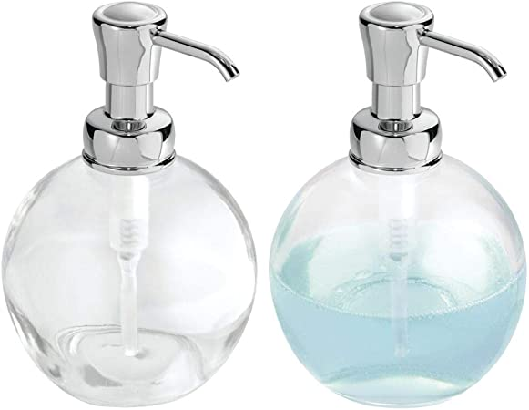 mDesign Round Glass Refillable Liquid Soap Dispenser Pump Bottle for  Bathroom Vanity Countertop, Kitchen Sink - Holds Hand Soap, Dish Soap, Hand  ...