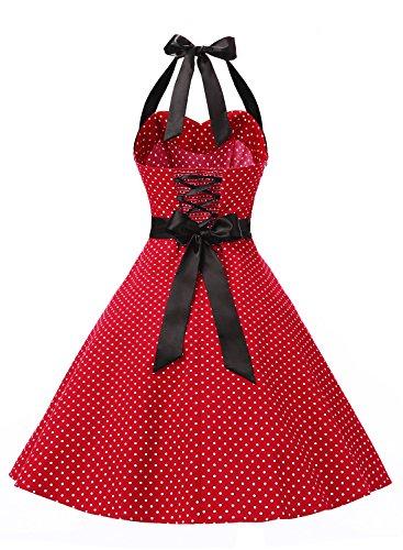 Dressystar Vestidos De Muejers Corto Halter Lunares Rretro Vintage 50s 60s Rockabilly Red