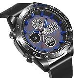 Men's Outdoor Digital Sports Watch,Electronic Quartz Movement Waterproof Two Timezone Stopwatch Alarm Week Date Military Wrist Watch with EL Backlight-Black