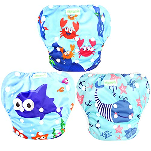 Wegreeco Baby & Toddler Snap One Size Adjustable Reusable Baby Swim Diaper ( Sea-Elves, Large, 3 Pack)