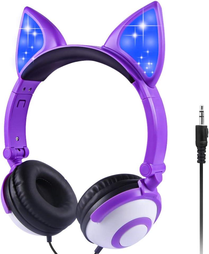Auriculares para niños con cable y orejas (violeta)