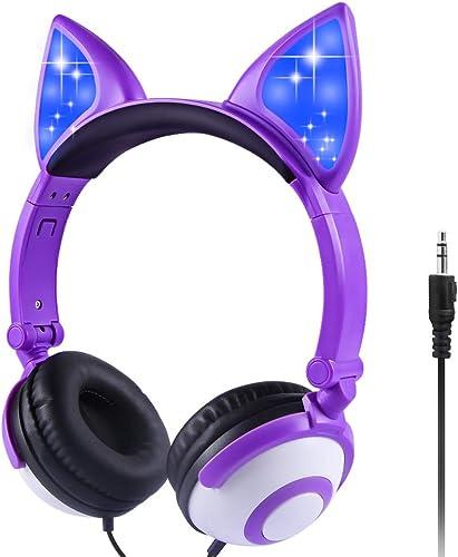 Sunvito Kids Headphones, Foldable Fox Ear Glowing Headphones,Wired On Ear Headset for Girls Boys Purple