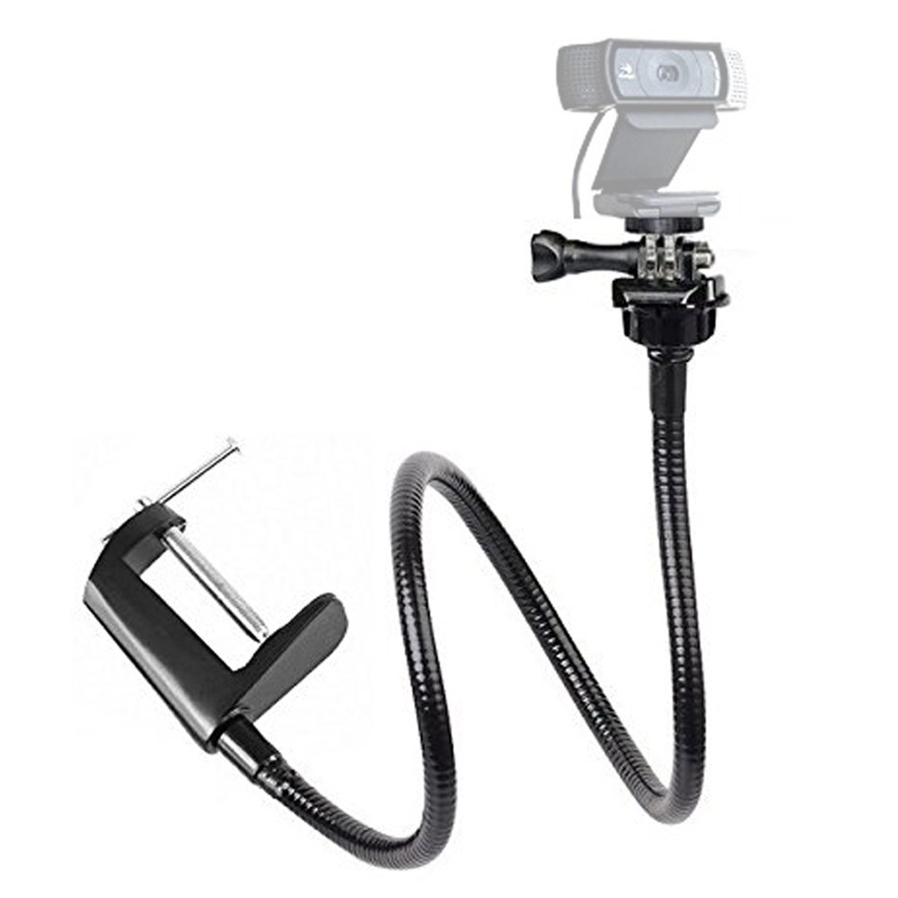 Etubby Adjustable 26 Gooseneck Desktop Webcam Stand Holder Flexible Jaw Camera Desk Clamp Mount for Logitech Webcam Brio 4K, C925e, C922x, C922, C930e, C930, C920, C615 and More (1/4 Threaded)