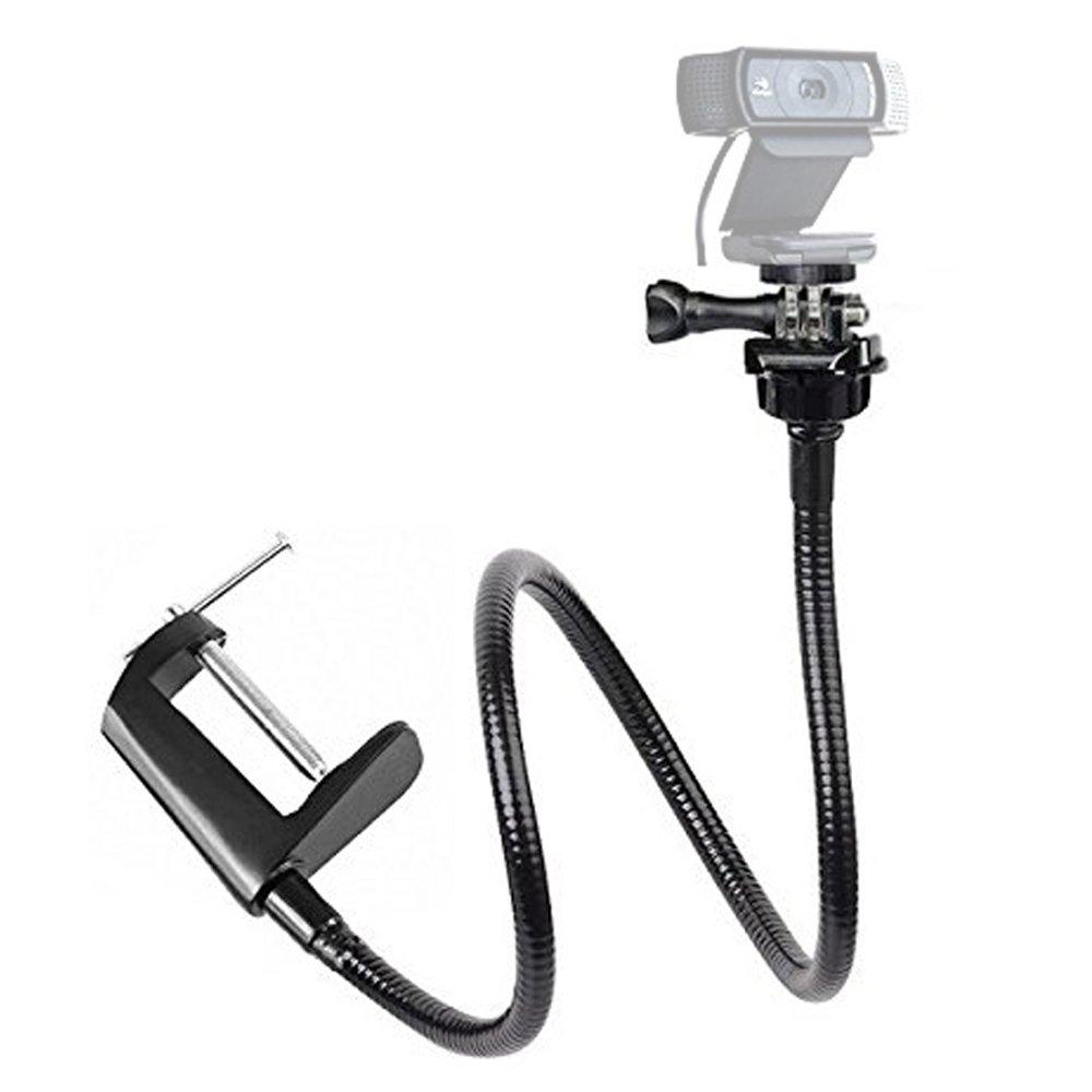 Etubby Adjustable 26'' Gooseneck Desktop Webcam Stand Holder Flexible Jaw Camera Desk Clamp Mount for Logitech Webcam Brio 4K, C925e, C922x, C922, C930e, C930, C920, C615 and More (1/4'' Threaded)