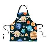 iPrint Cooking Apron,Galaxy,Cute Galaxy Space Art Solar System Planets Mars Mercury Uranus Jupiter Venus Kids Print,Multi,3D Print Apron.29.5''x26.3''