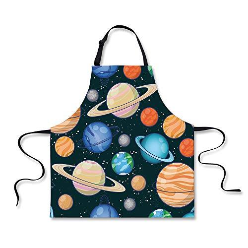 iPrint Cooking Apron,Galaxy,Cute Galaxy Space Art Solar System Planets Mars Mercury Uranus Jupiter Venus Kids Print,Multi,3D Print Apron.29.5''x26.3'' by iPrint
