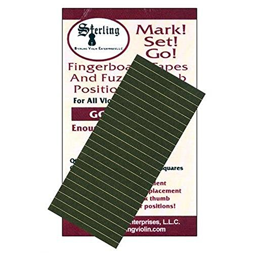 Mark! Set! Go! for Cello & Bass Instrument Fingerboard Tape: Silver Tape with Black Felt - Bass Sets Cello