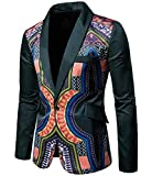 Domple Men Slim Fit One Button Lapel African Print Dashiki Blazer Suit Jackets Green XL