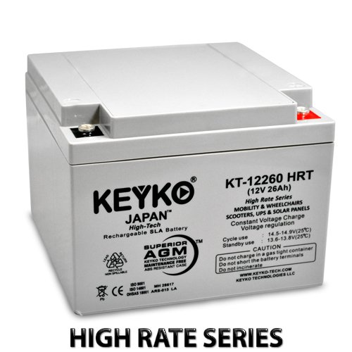 12V 26Ah / Real 28Ah Deep Cycle AGM / SLA Battery for Wheelchairs Scooters Mobility UPS & Solar - Genuine KEYKO - Threaded T-0 Terminal