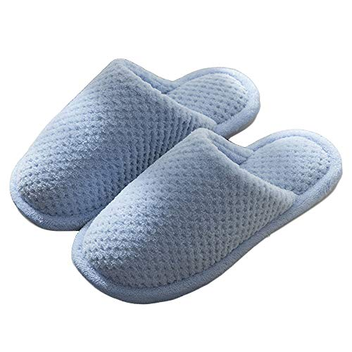 Blue Men Women's Cotton Knit Memory Foam Slippers Terry Cloth Anti Skid Indoor/Outdoor Slip-On House Shoes Women's Cozy Fleece House Slippers Wool-Like Plush Fleece Lined House Shoes Women 36-37
