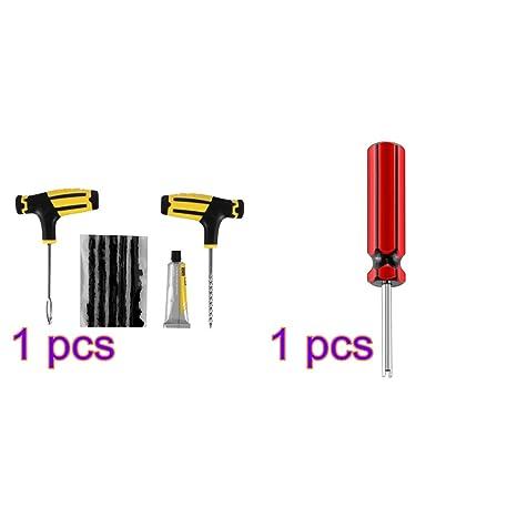 ONEVER Kit Repara Pinchazos Reparacion del neumaticos de Coche Kit de Herramientas del Parche Automotive Sin
