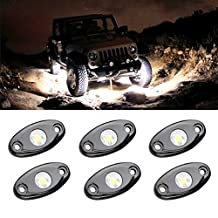 LED Rock Light Kits with 6 pods Lights for JEEP Off Road Truck Car ATV SUV Under Body Glow Light Lamp Trail Fender Lighting (White)