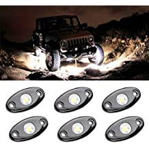 LED Rock Light Kits with 6 pods Lights for JEEP Off Road Truck Car ATV SUV Motorcycle Under Body Glow Light Lamp Trail Fender Lighting (White)