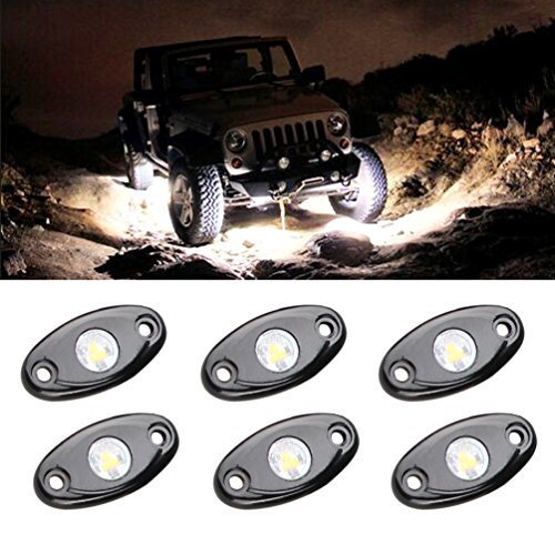 Flicker Rocks - LED Rock Light Kits with 6 pods Lights for JEEP Off Road Truck Car ATV SUV Motorcycle Under Body Glow Light Lamp Trail Fender Lighting (White)