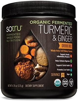 SoTru Turmeric Ginger Drink Mix – 135 grams – Whole-Food Fermented Herbal Supplement Powder with Curcuminoids – USDA Certified Organic, Non-GMO, Vegan, Gluten-Free – 30 Servings