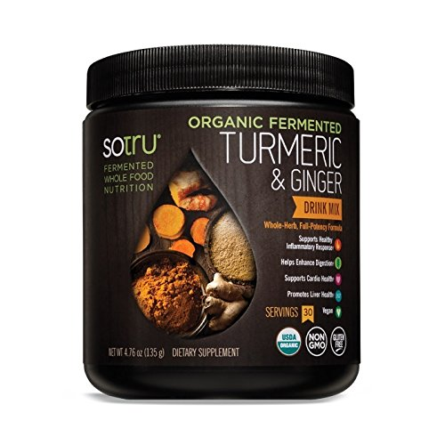 SoTru Turmeric & Ginger Drink Mix – 135 grams – Whole-Food Fermented Herbal Supplement Powder with Curcuminoids – USDA Certified Organic, Non-GMO, Vegan, Gluten-Free – 30 Servings
