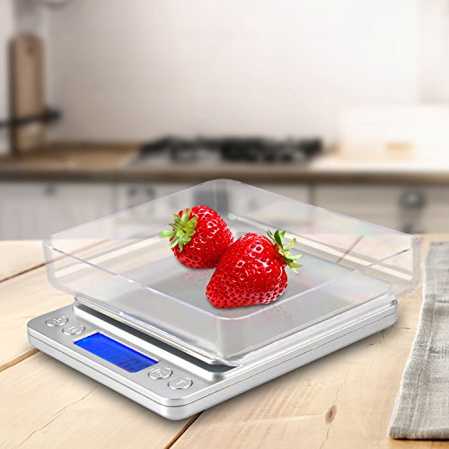 Digital Kitchen Scale, 1000g/0.1g Pro Cooking scale with Back-Lit LCD Display,RECCAZR Accuracy Portable Pocket Food Scale, 7 Units, Auto Off, Tare, PCS Function, Stainless Steel 2 Trays Included