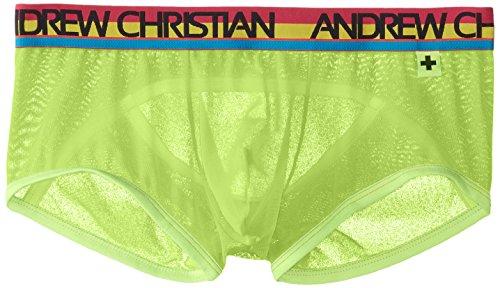 Andrew Christian Men's Almost Naked Gigolo Boxer, Neon Yellow, ()