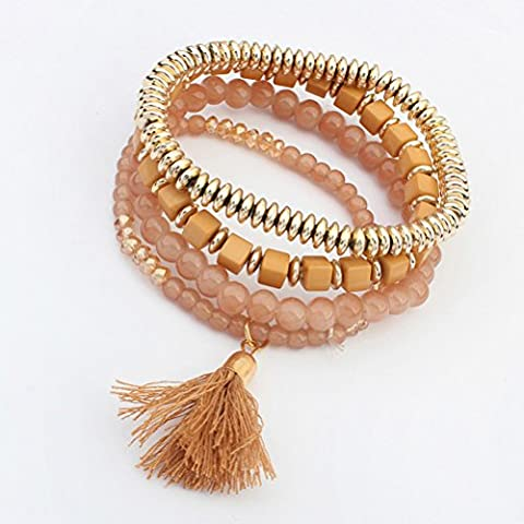 SunIfSnow Bohemian Sweet Fringed Multilayer Brown Beaded Bracelet - Roberto Coin Elephant Jewelry Set