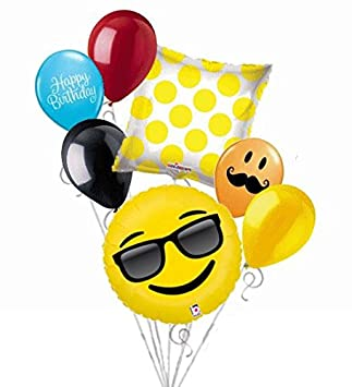 7 Pc Emoji Sunglasses Balloon Bouquet Party Decoration Smiley Happy Birthday Jokes