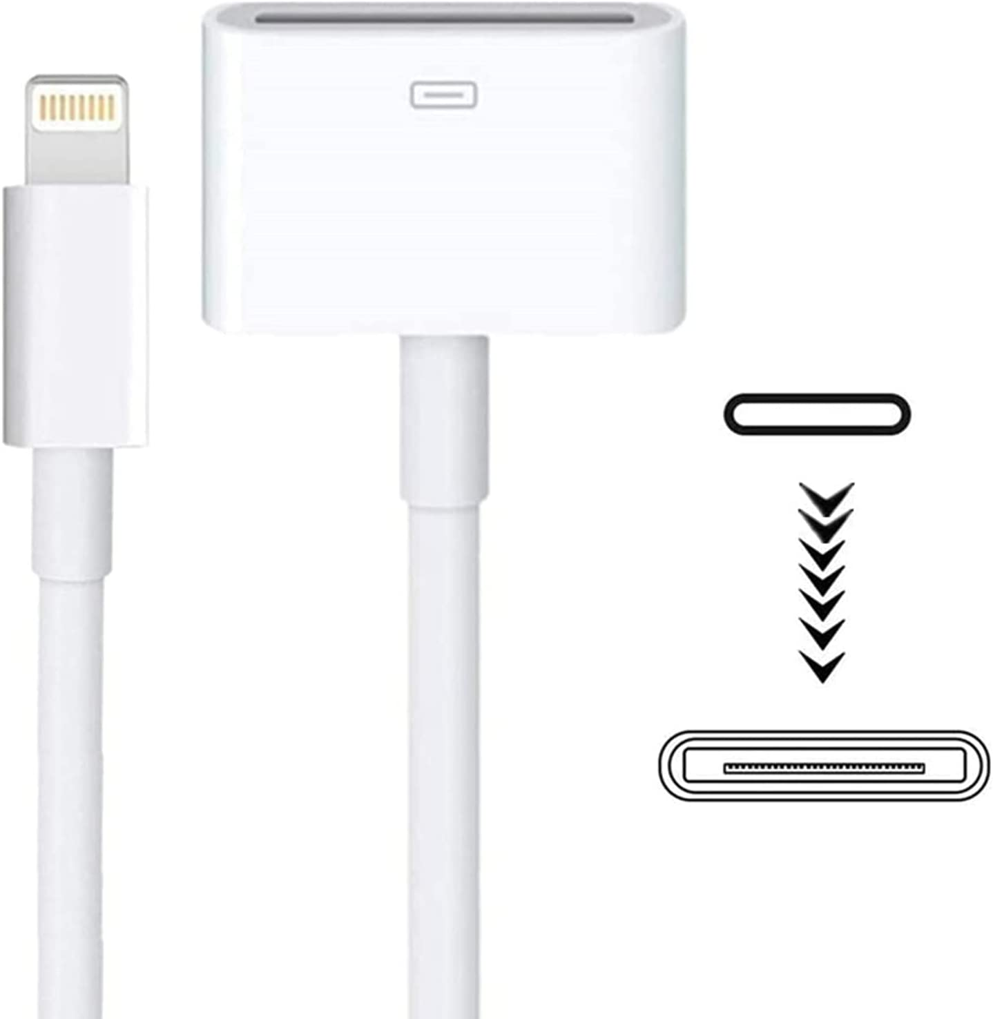 Lightning to 30 Pin Adapter sharllen MFi Certified 8 Pin Male to 30 Pin Female Charge & Sync Cable Adapter Converter with iPhone Charger Cable Compatible iPhone 12 11 X 8 7 6P 5S /iPad/iPod (White)