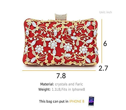 Red Bridal Women Handbag Evening Clutches Bags Clutches With Clutch Strap Purse Glitter For Large And Crystal 8wqvRWExZ