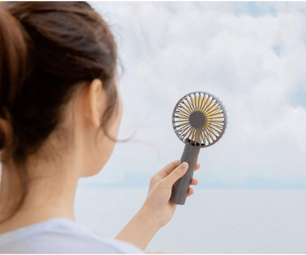 Liweibao-Electronics Mini Portable Fan Handheld Mini Fan with USB Rechargeable Detachable Base for Travel Camping 3 Speeds Lower Noise USB Fan for Travel Office Color : Coffee, Size : Free Size