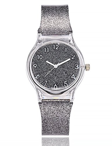 Plastic Transparent Watch (Women Starry Sky Watches COOKI Clearance Female Watches on Sale Star Lady Watches Cheap Watches Transparent Plastic Watch-A173 (Gray))
