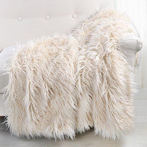 - LEEVAN Soft Shaggy Fluffy Faux Fur Throw Blanket Cozy Elegant Bedding Cover Plush Mongolian Blanket Chic Decorative for Sofa Chair Bedroom(50