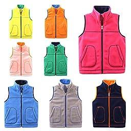 Fairylinks Unisex Baby Kids Polar Fleece Solid Color Soft and Warm Vest Zipper Jacket Boy Girl