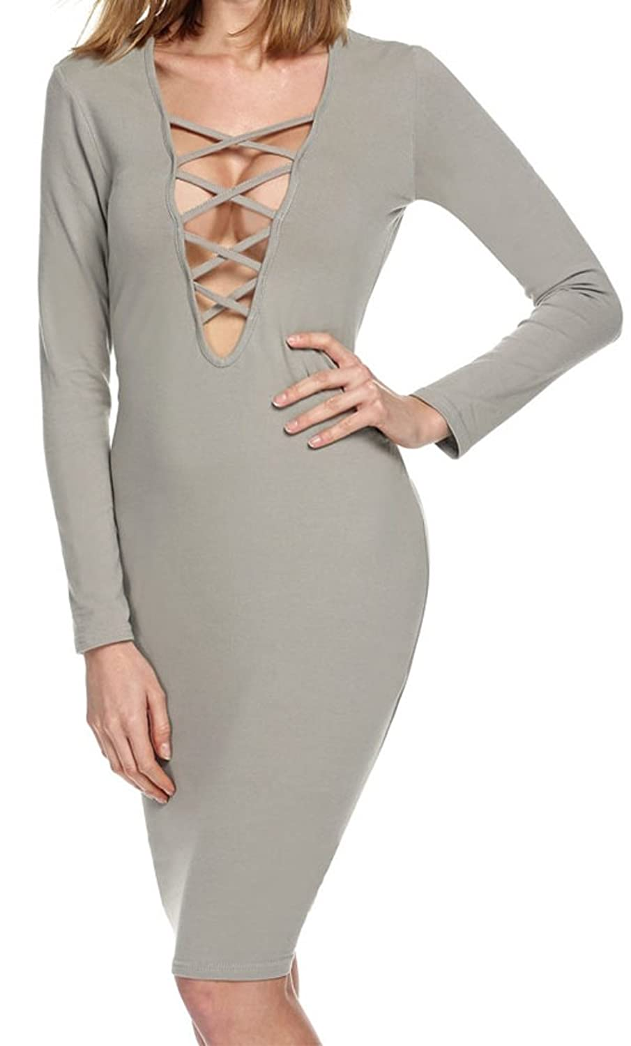 POGTMM Women's Sexy Long Sleeve Deep V Neck Cross Bandage Stretchy Slim Bodycon Cocktail Party Dress