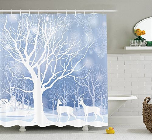 (Ambesonne Winter Decorations Shower Curtain by, Silhouettes of Deer in Snowy Forest with Blizzards Surreal Dreamy Theme, Fabric Bathroom Decor Set with Hooks, 70 Inches, Blue White)