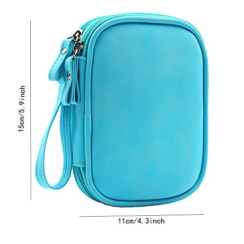 Honeystore Double Layer Gadget Organizer Universal Travel Gear Electronics Accessories Bag Electronics Carrying Case for USB Cable, Flash Drive, Hard Disk, Earphone, SD Card, Power Bank and More Blue by Honeystore (Image #1)'