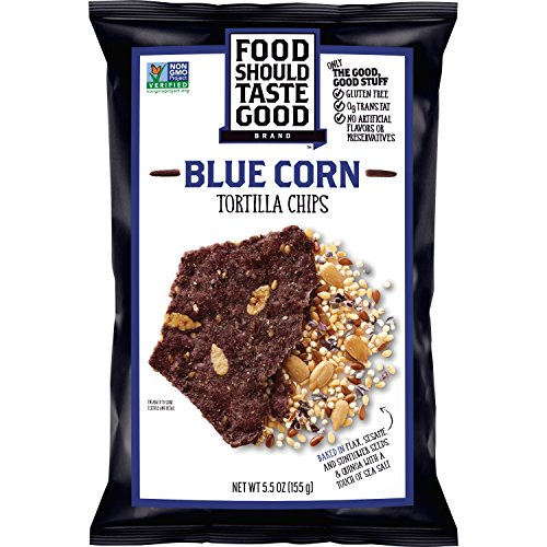 Food Should Taste Good, Tortilla Chips, Blue Corn, Gluten Free Chips, 5.5 (Kosher Baked Goods)