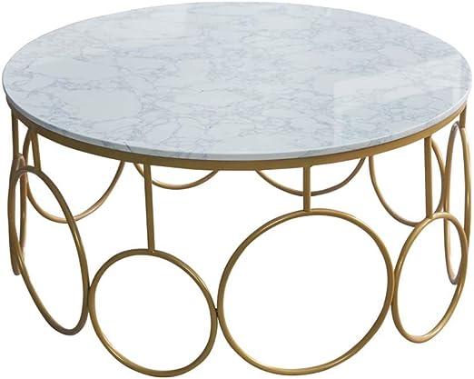 DGFTC-2 Mesa de Centro de mármol Mesa de Centro de diseño Simple Muebles Decorativos de mármol con Marco de Metal Compacto para Muebles de Sala de Estar en el hogar: Amazon.es: Hogar
