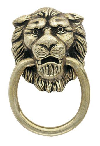Amerock Traditional Classics Lion Head Ring Pulls - Antiqued - Pull Traditional Accents Brass