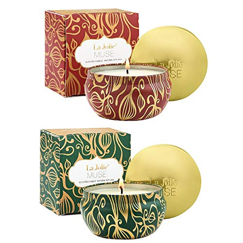 LA JOLIE MUSE Scented Candles Set 2 Fir Cedarwood & Cinnamon Pumpkin, 13oz Natural Soy Wax, Winter Gift Collection ()