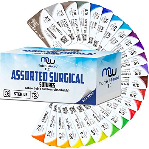 (Mixed Sutures Thread with Needle (Absorbable: Chromic Catgut; Non-Absorbable: Nylon, Silk, Polyester, Polypropylene) - Surgical Wound Practice Kit, Emergency First Aid Demo (2-0, 3-0, 4-0, 5-0) 24PK)