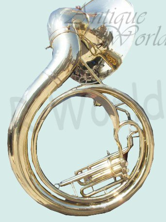 Antiques World Bright Vibrant Sound With Big Sousaphone 24'' Made Of Brass Gold Color AWUSAMI 0136 by Antiques World