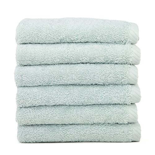 Linum Home Textiles Soft Twist Premium Authentic Soft 100% Turkish Cotton Luxury Hotel Collection Washcloth, Set of 6, Aqua - Collection Washcloth Resort