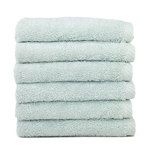 Linum Home Textiles Soft Twist Premium Authentic Soft 100% Turkish Cotton Luxury Hotel Collection Washcloth, Set of 6, Aqua Blue
