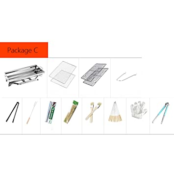 Conjunto completo de la herramienta del campo de la barbacoa del hogar de la barbacoa del acero inoxidable (Size : Package C): Amazon.es: Hogar