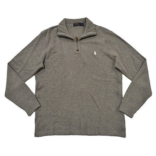 (Polo Ralph Lauren French Ribbed 1/4 Zip Mock Neck Sweater (M, Soft Flann Grey))