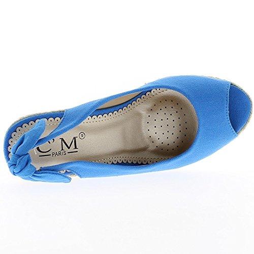 Zapatillas Con Cuña Azul En Bandeja De 2 Cm Y Tacón De 9,5 Cm