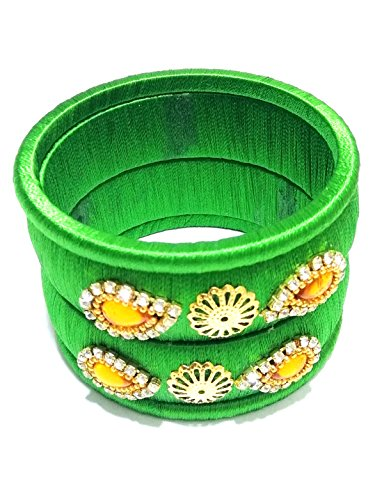 Green Rhinestone Bangle - Silk Thread Bangles 4 Green Rhinestone with Yellow Kundans Bracelet Bangles Set Small 2.4 size